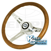 "EMPI Classic Wood Steering Wheel, 7/8"" Thick Grip With Adapter"
