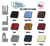 VW Super Beetle Sedan Pile Style Front Carpet Kit, Made in USA