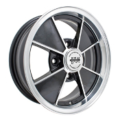 "EMPI BRM Wheel, 4-Lug, 4x130 Gloss Black, Polished Lip 4.5"" Wide"