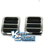 Custom Chrome/Black Pedal Pads Set, 2 piece kit for roller pedal