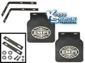 EMPI Mud Flaps, Black, Pair with Brackets and Snap-in Logo