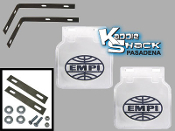 EMPI Mud Flaps, White, Pair with Brackets and Snap-in Logo