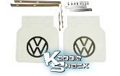Restoration Quality VW Logo Mud Flaps w/ Brackets, White