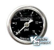 "Fuel Pressure Gauge, Liquid Filled, 1/8"" MPT, Stainless Steel"