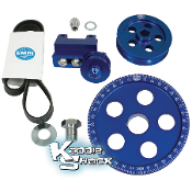 Serpentine Belt and Pulley System, Billet Aluminum, Blue