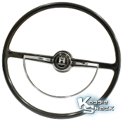 Black Steering Wheel with Horn Ring & Button Fits '60 to '70 Bug